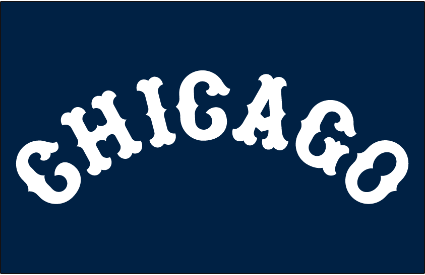 Chicago White Sox Logo Jersey Logo (1915) - CHICAGO in a white arched Tuscan style font on navy blue, worn on White Sox road jersey in 1915 SportsLogos.Net