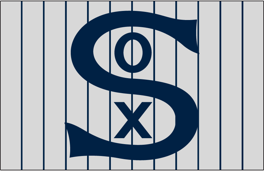 Chicago White Sox Logo Jersey Logo (1917) - SOX in blue on a grey jersey with blue pinstripes, worn on White Sox road jersey in 1917 SportsLogos.Net