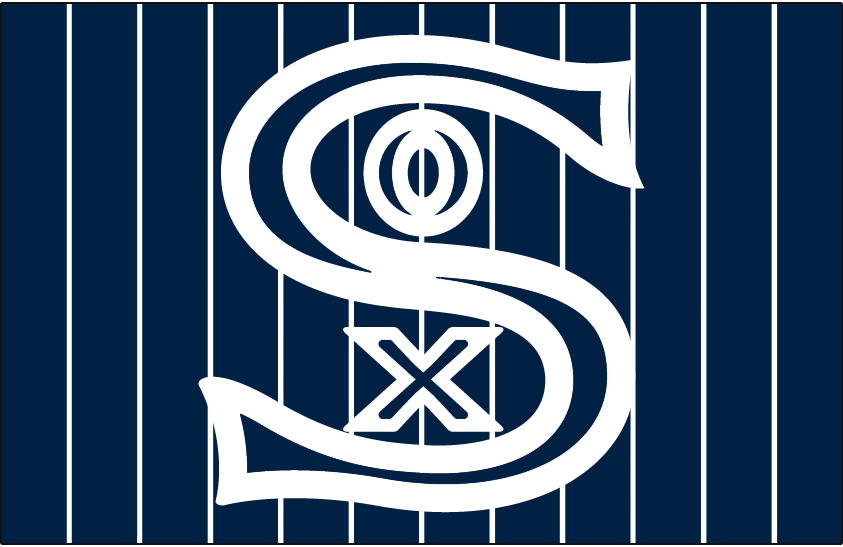 Chicago White Sox Logo Jersey Logo (1917) - SOX in blue and white on a navy blue jersey with white pinstripes, worn on White Sox road alternate jersey in 1917 SportsLogos.Net