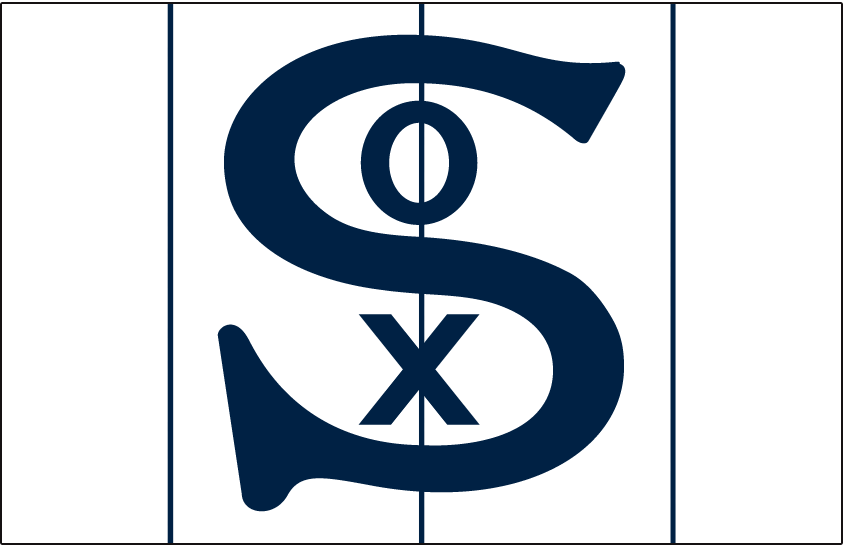 Chicago White Sox Logo Cap Logo (1917) - Navy blue S with O and X inside on white cap with blue pinstripes, worn at home by Chicago White Sox in 1917 season SportsLogos.Net