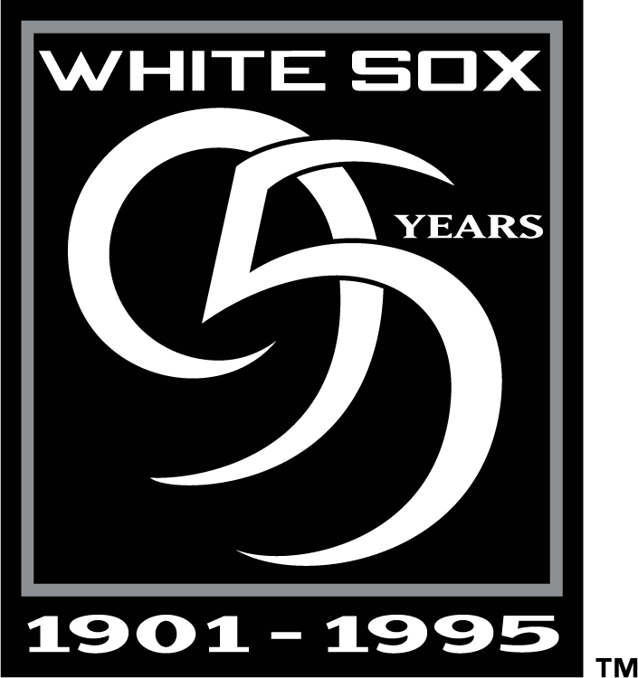 Chicago White Sox Logo Anniversary Logo (1995) - Chicago White Sox 95 Years (Black Alternate Version) SportsLogos.Net
