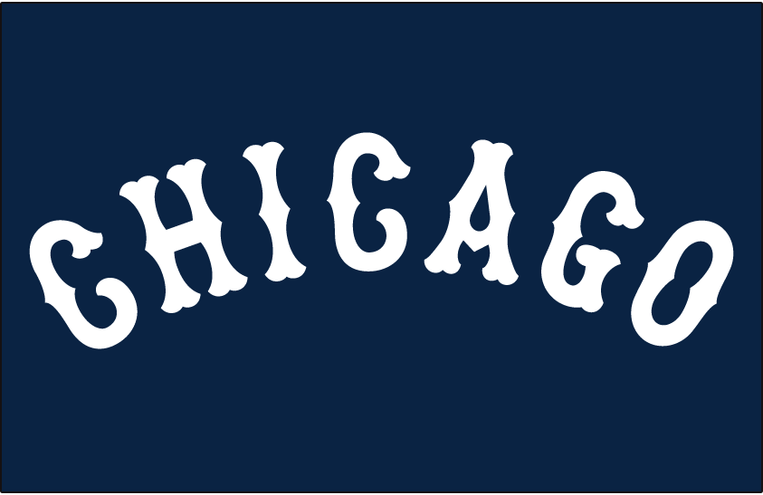 Chicago White Sox Logo Jersey Logo (1930-1931) - CHICAGO in white arched letters on navy blue, worn on White Sox road jersey in 1930 and 1931 SportsLogos.Net