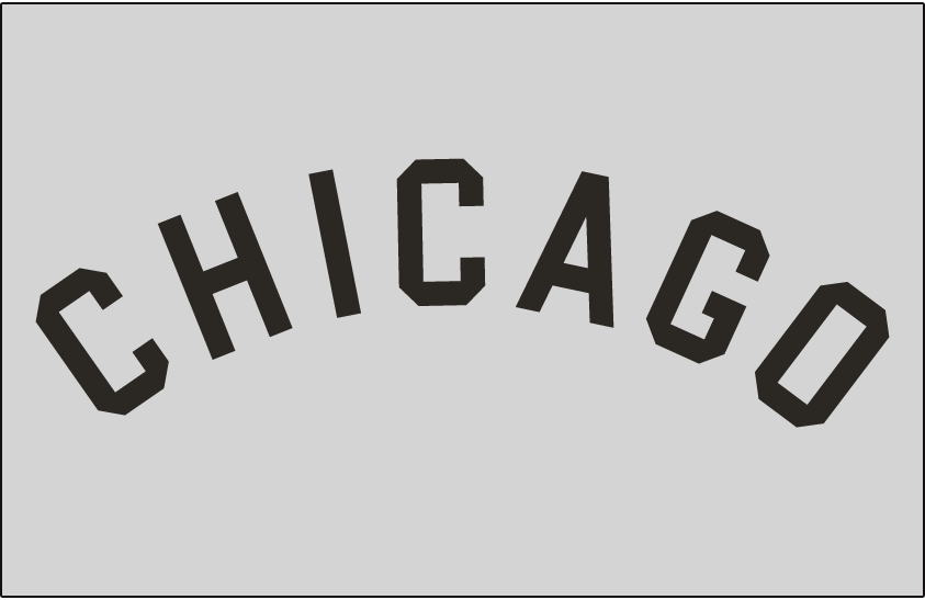Chicago White Sox Logo Jersey Logo (1949) - CHICAGO arched in black on grey, worn on White Sox road jersey in 1949 and again from 1954 through 1963 SportsLogos.Net