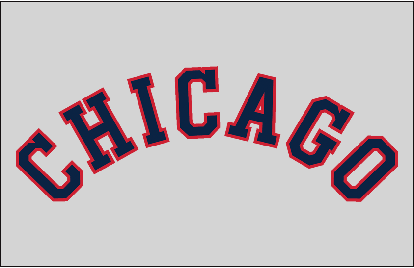 Chicago White Sox Logo Jersey Logo (1939-1948) - CHICAGO arched in blue and red on grey, worn on White Sox road jersey from 1939 through 1948 SportsLogos.Net