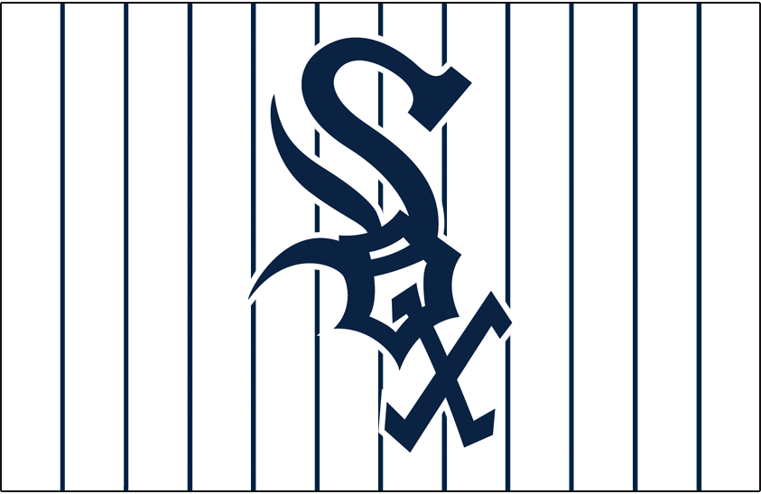 Chicago White Sox Logo Jersey Logo (1964-1968) - Sox in blue on a white jersey with blue pinstripes, worn on White Sox home jersey from 1964 to 1968 SportsLogos.Net