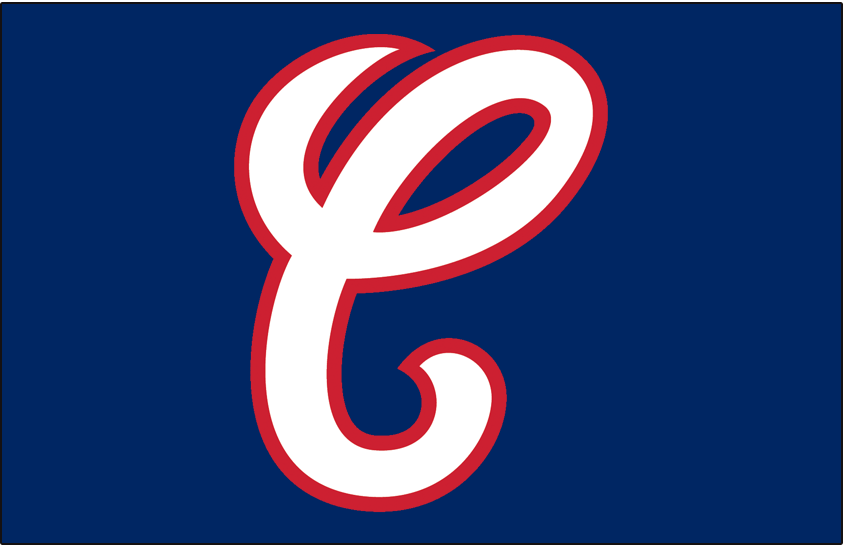 ... with red outline on blue, worn on White Sox caps from 1987 until 1990