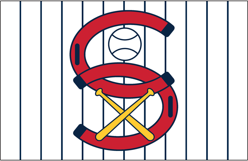 Chicago White Sox Logo Jersey Logo (1932) - Two red C's positioned to form an S with a baseball and crossed baseball bats, worn on a white jersey with blue pinstripes as a White Sox alternate home jersey in 1932 SportsLogos.Net