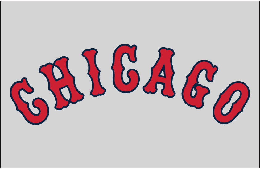 Chicago White Sox Logo Jersey Logo (1932-1938) - Chicago in red and blue on grey, worn on White Sox road jersey from 1932 to 1938 SportsLogos.Net