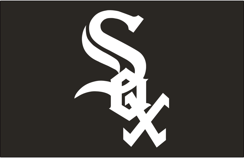 Chicago White Sox Logo Cap Logo (1990-Pres) - Sox in white on black, worn for just the final month of the 1990 season before being used full-time beginning in 1991 SportsLogos.Net