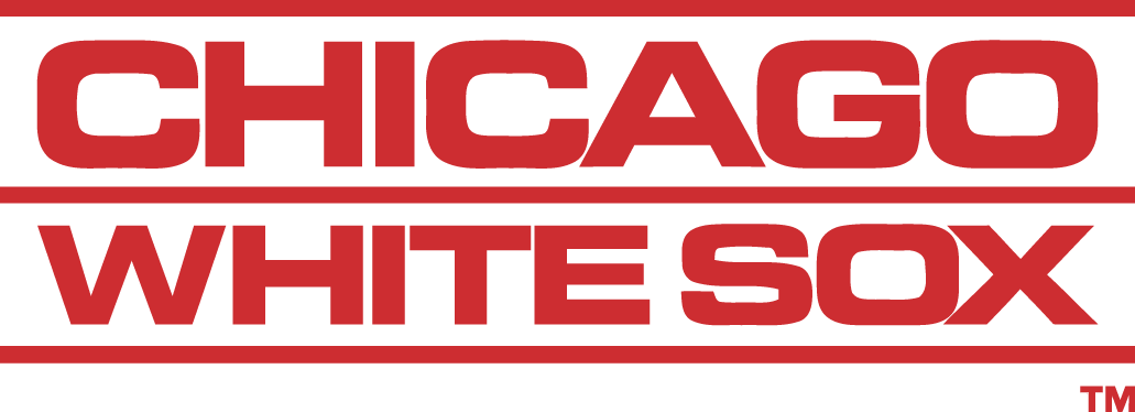 Chicago White Sox Logo Wordmark Logo (1976-1990) - Chicago above White Sox in red SportsLogos.Net