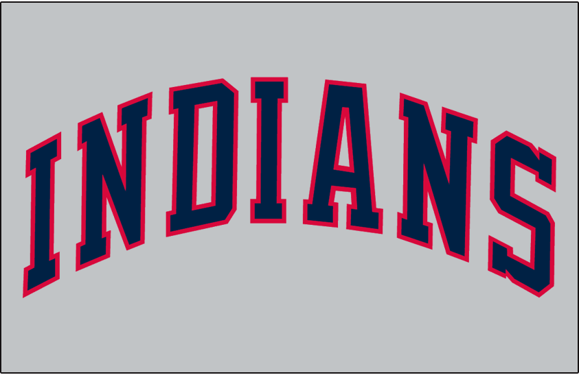 Cleveland Indians Logo Jersey Logo (1986-1988) - (Road) Indians in blue block lettering with a red outline on grey SportsLogos.Net
