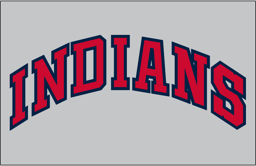 Cleveland Indians Logo Jersey Logo (1958-1962) - INDIANS arched in red and blue on grey, worn on Cleveland Indians road jersey from 1958-62 SportsLogos.Net
