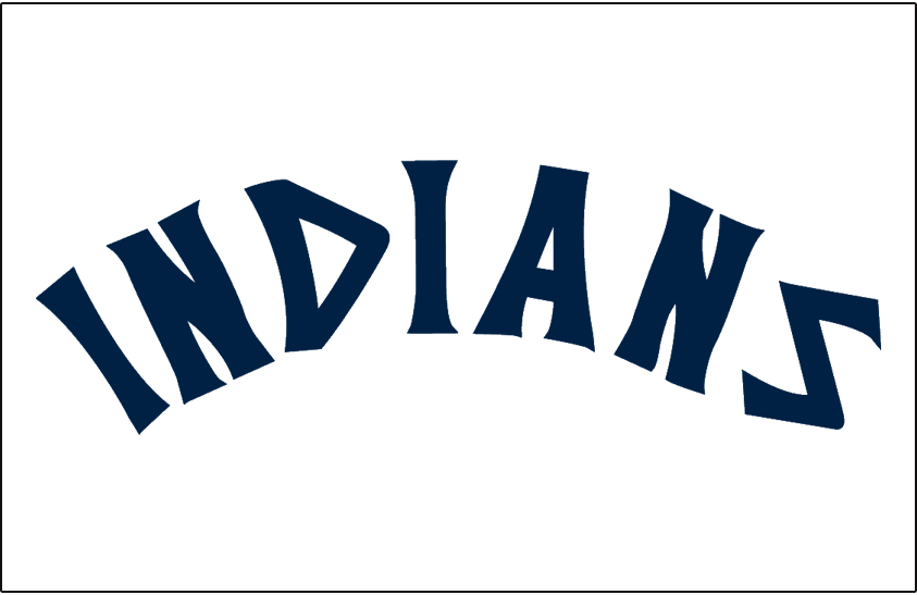 Cleveland Indians Logo Jersey Logo (1973-1977) - INDIANS in blue on white, worn on Cleveland Indians road jersey from 1973 to 1977 SportsLogos.Net