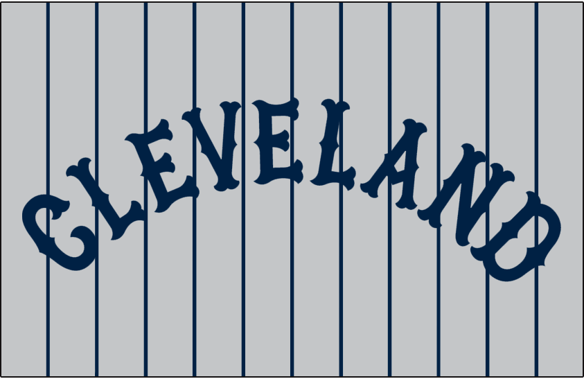 Cleveland Indians Logo Jersey Logo (1929-1936) - CLEVELAND arched on grey with blue pinstripes, worn on Indians road jersey from 1929-36 SportsLogos.Net