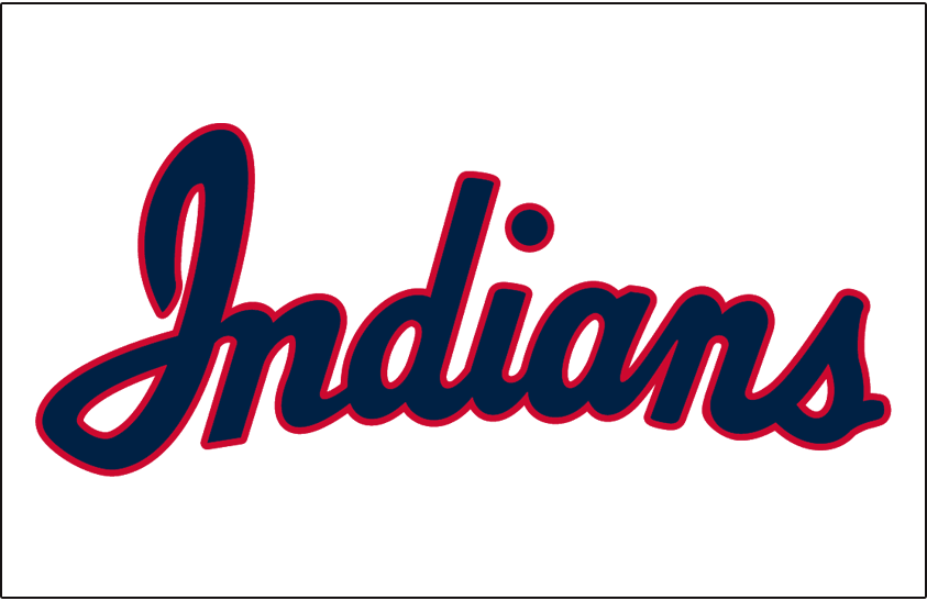 Cleveland Indians Logo Jersey Logo (1950) - INDIANS scripted in blue with red trim on white, worn on Cleveland Indians home jersey in 1950 SportsLogos.Net