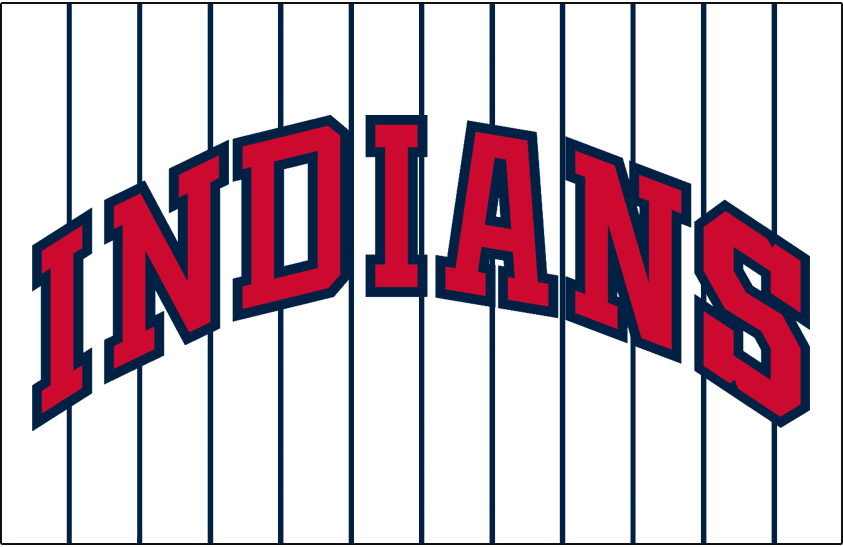 Cleveland Indians Logo Jersey Logo (1958-1962) - INDIANS arched in red and blue on white with blue pinstripes, worn on Cleveland Indians home jersey from 1958-62 SportsLogos.Net