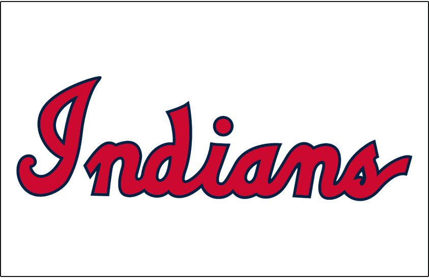 Cleveland Indians Logo Jersey Logo (1951-1957) - (Home) Indians in red and blue script SportsLogos.Net