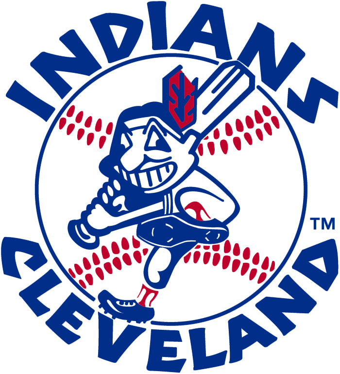 Cleveland Indians Logo Primary Logo (1973-1978) - Chief Wahoo swinging a baseball bat in front of a blue and red baseball with team name arched around SportsLogos.Net