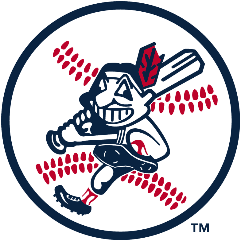 Cleveland Indians Logo Alternate Logo (1973-1978) - Chief Wahoo swinging a baseball bat with a baseball behind, worn on Indians jersey sleeve from 1973-78, note that this version features a darker shade of blue than the primary logo of the time.  SportsLogos.Net