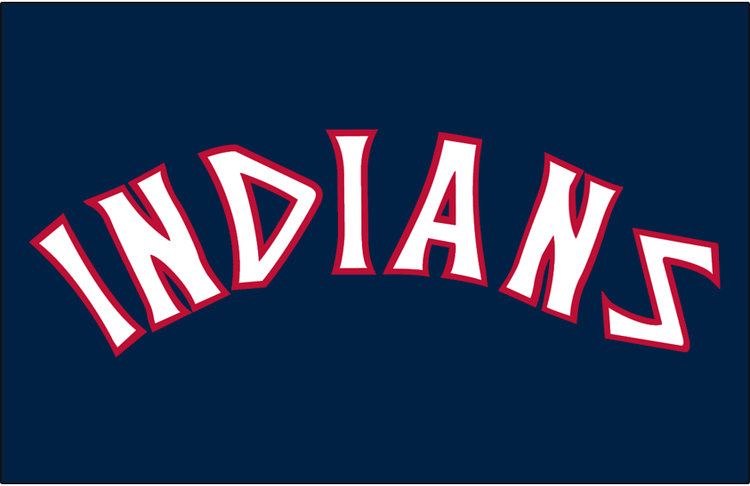 Cleveland Indians Logo Jersey Logo (1975-1977) - (Alternate) Indians in white arched on blue SportsLogos.Net