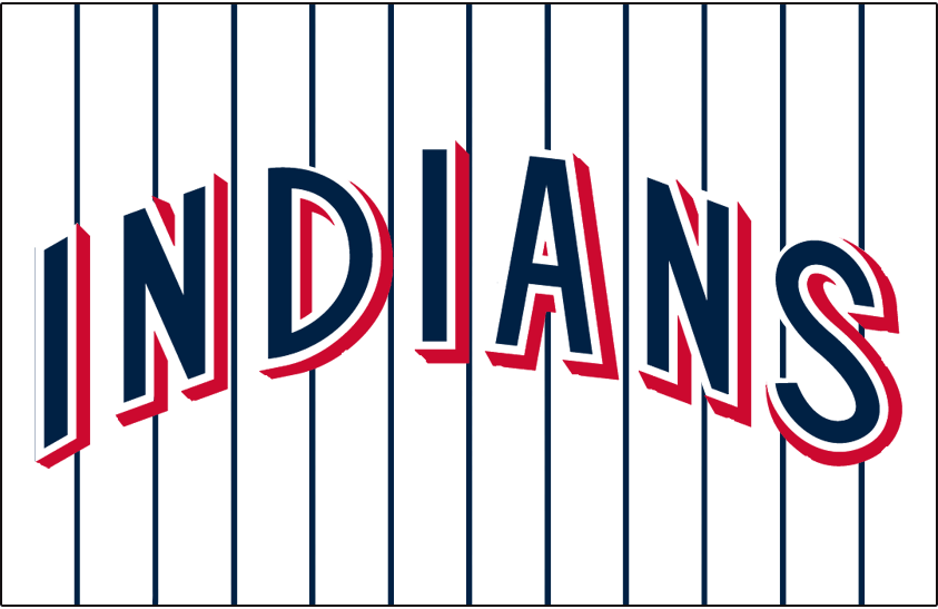 Cleveland Indians Logo Jersey Logo (1970) - INDIANS arched in blue with white trim and red drop shadow on white jersey with blue pinstripes, worn on Cleveland Indians home jersey in 1970 SportsLogos.Net