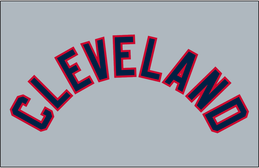 Cleveland Indians Logo Jersey Logo (1942-1943) - CLEVELAND arched in blue with red trim on grey, worn on Cleveland Indians road jersey from 1942-43 and again in 1950 SportsLogos.Net