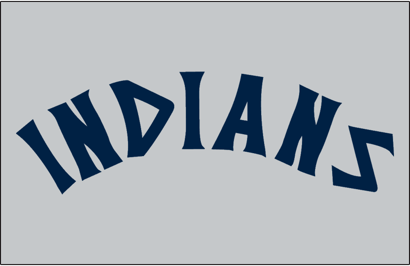 Cleveland Indians Logo Jersey Logo (1973-1974) - INDIANS in blue on grey, worn on Cleveland Indians road jersey in 1973 and 1974 SportsLogos.Net