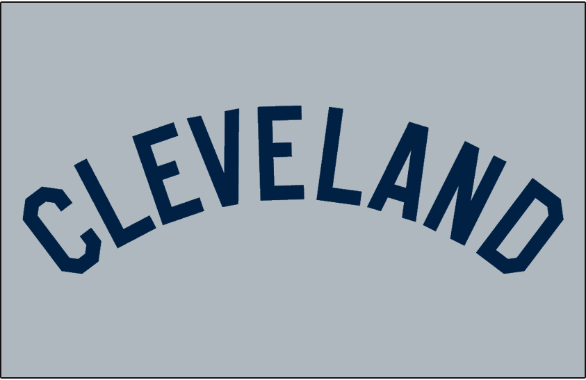 Cleveland Indians Logo Jersey Logo (1939-1941) - CLEVELAND arched in blue on grey, worn on Cleveland Indians road jersey from 1939-41 SportsLogos.Net
