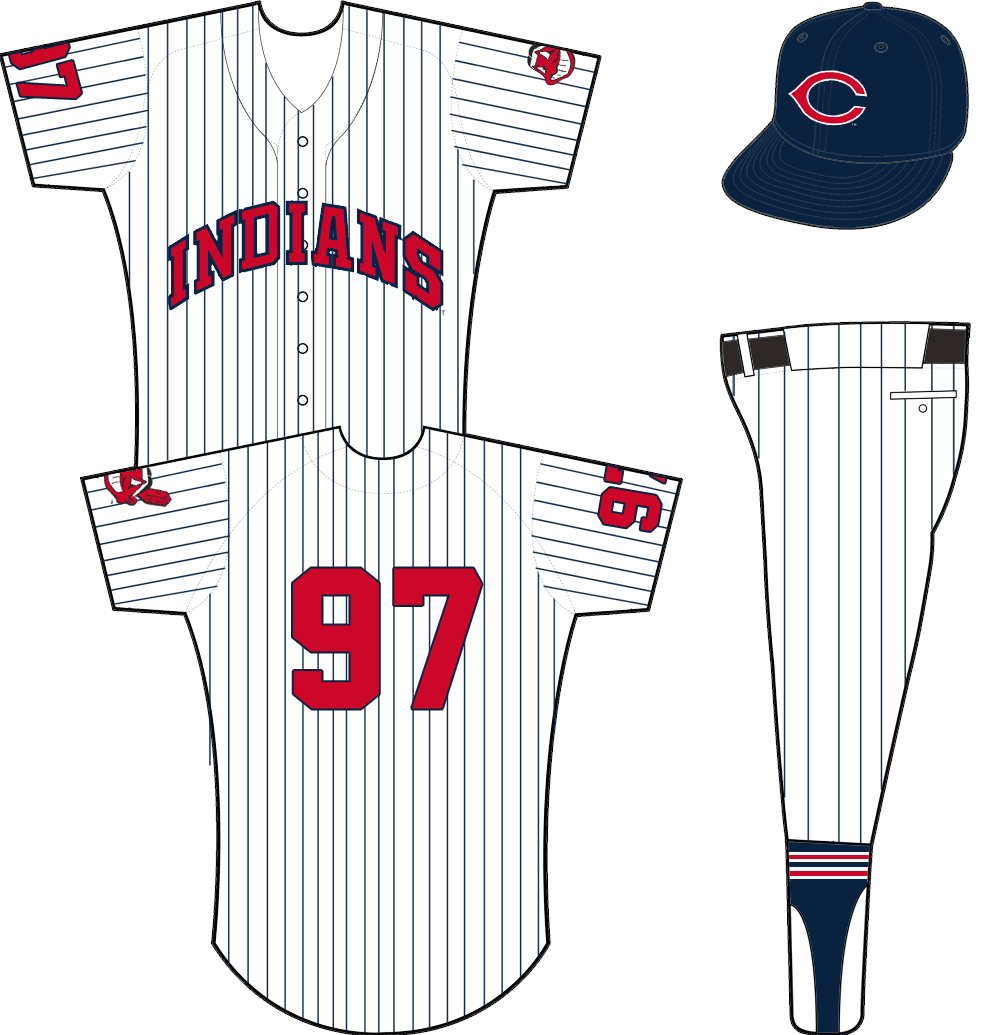 Cleveland Indians Uniform Home Uniform (1958-1961) - INDIANS arched in red with blue trim on a white uniform with blue pinstripes. Chief Wahoo logo on left sleeve, player number on the right. Cap is blue with wishbone red C logo. SportsLogos.Net