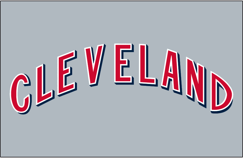Cleveland Indians Logo Jersey Logo (1970) - CLEVELAND arched in red with white trim with blue drop shadow on grey, worn on Cleveland Indians road jersey in 1970 SportsLogos.Net