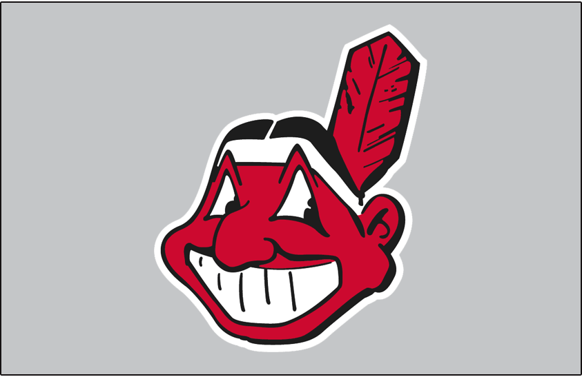 Cleveland Indians Logo Jersey Logo (1963-1969) - Chief Wahoo logo in red and black on grey, worn on front of Cleveland Indians road grey vests from 1963-69 SportsLogos.Net