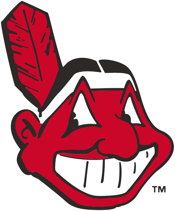Cleveland Indians Logo Primary Logo (1949-1972) - Chief Wahoo facing to the right - a red Native American cartoon head grinning with a red feather sticking out the back of his black hair SportsLogos.Net