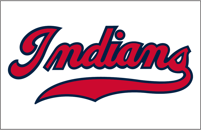 Cleveland Indians Logo Jersey Logo (1946-1949) - INDIANS scripted in red with blue trim on white, worn on Cleveland Indians home jersey from 1946-49 SportsLogos.Net