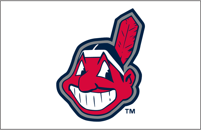 Cleveland Indians Logo Jersey Logo (2002-2007) - Chief Wahoo logo with silver and navy blue outline worn on a white, sleeveless (alternate home) jersey from 2002 to 2007 SportsLogos.Net
