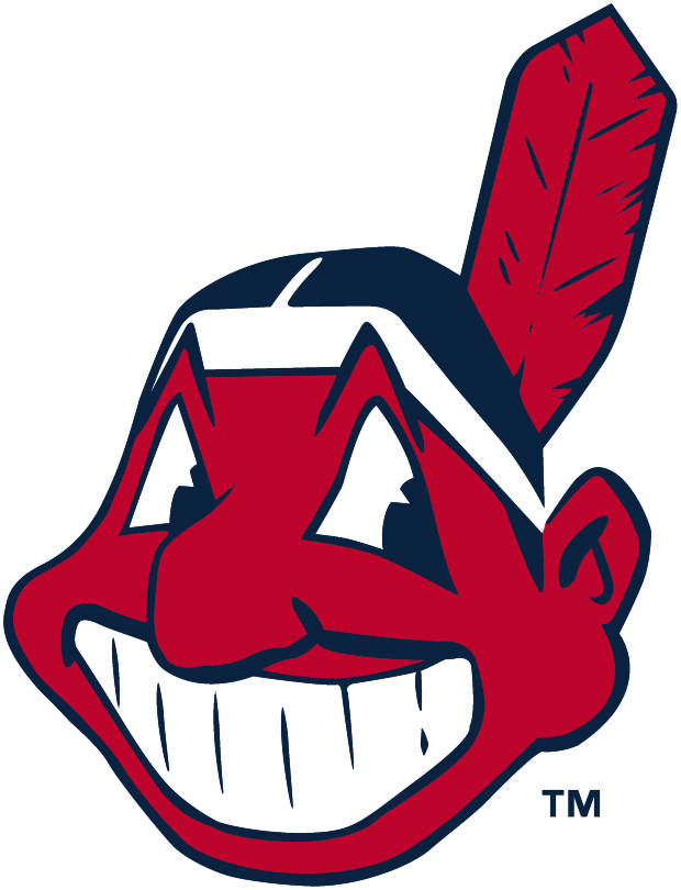 Cleveland Indians Logo Primary Logo (1979-1985) - Chief Wahoo facing the left in red and navy blue. Colours are adjusted slightly for the 1986 season SportsLogos.Net