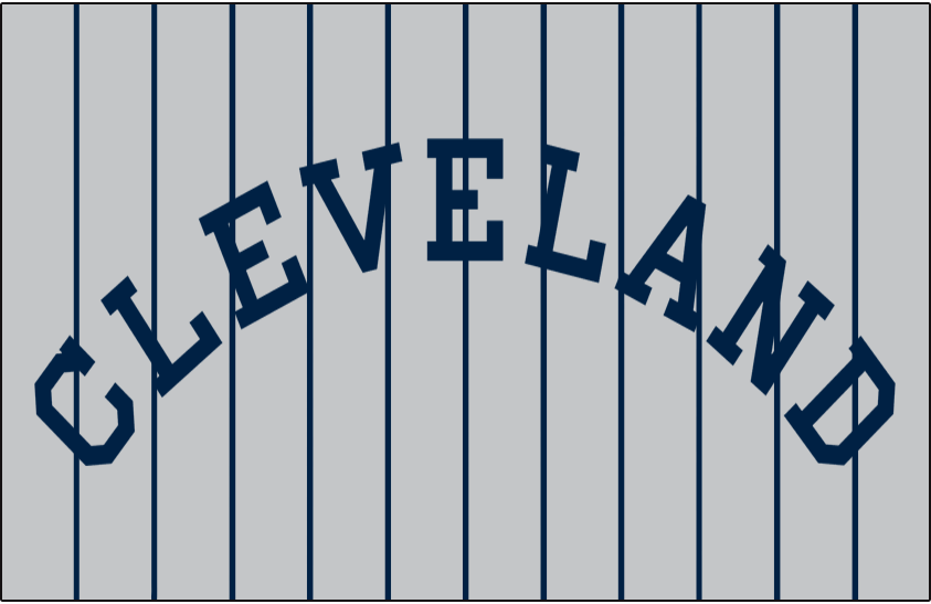 Cleveland Indians Logo Jersey Logo (1915-1916) - CLEVELAND arched in navy blue on grey with blue pinstripes, worn on Indians road jersey in 1915 and 1916 SportsLogos.Net