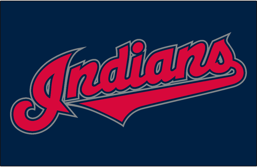 Cleveland Indians Logo Jersey Logo (2002-2007) - (Alternate) Indians in red with navy and silver outlines on navy SportsLogos.Net