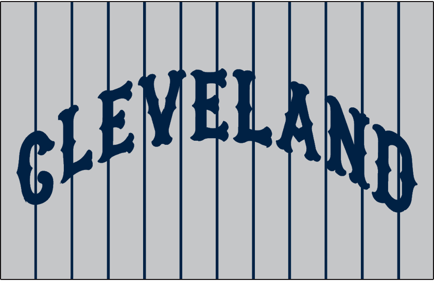 Cleveland Indians Logo Jersey Logo (1937-1938) - CLEVELAND arched in blue on grey with blue pinstripes, worn on Cleveland Indians road jersey in 1937 and 1938 SportsLogos.Net