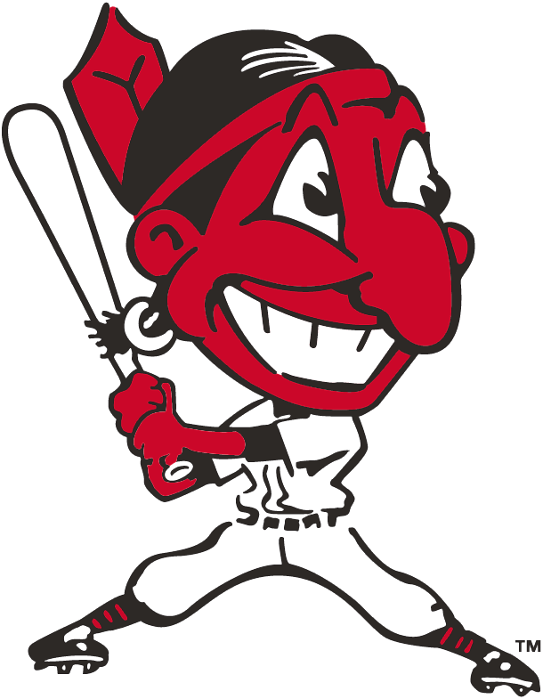 Cleveland Indians Logo Primary Logo (1946-1947) - Chief Wahoo batting - a red Native American with a large cartoon head grinning with a red feather sticking out the back of his black hair SportsLogos.Net