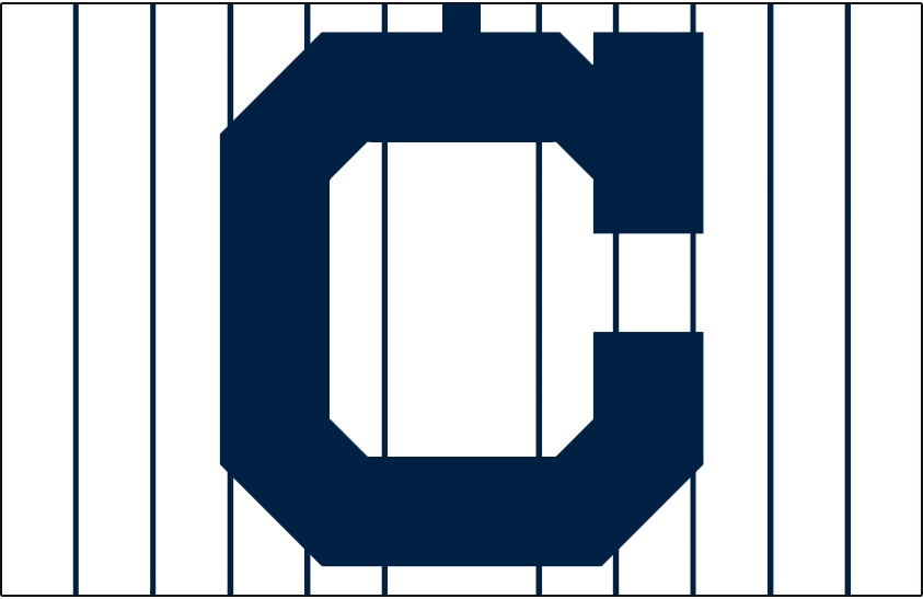 Cleveland Indians Logo Cap Logo (1915-1917) - Navy blue block C on white with blue pinstripes, worn on Cleveland Indians home cap from 1915 through 1917 SportsLogos.Net