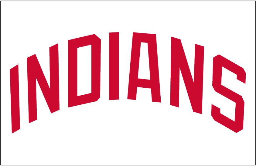 Cleveland Indians Logo Jersey Logo (1972) - INDIANS arched in red on white, worn on Cleveland Indians home jersey in 1972 only SportsLogos.Net
