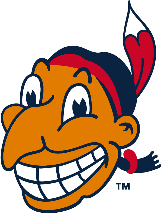 Cleveland Indians Logo Alternate Logo (1947-1950) - Chief Wahoo with tan skin, red headband and feather. Worn on sleeve of Indians jerseys during this period SportsLogos.Net