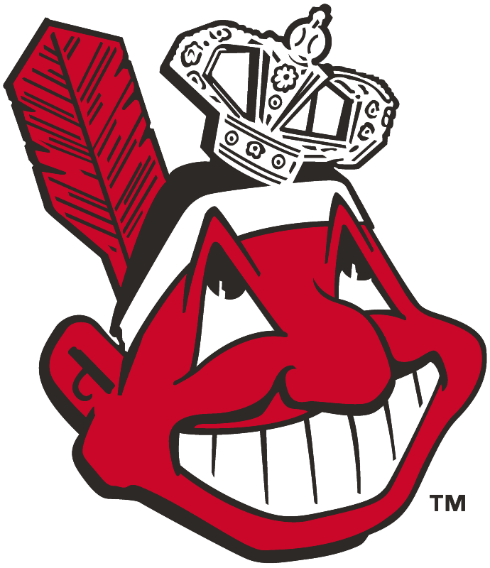 Cleveland Indians Logo Alternate Logo (1949-1955) - Chief Wahoo wearing a crown, created to celebrate Indians World Series Championship in 1948 SportsLogos.Net