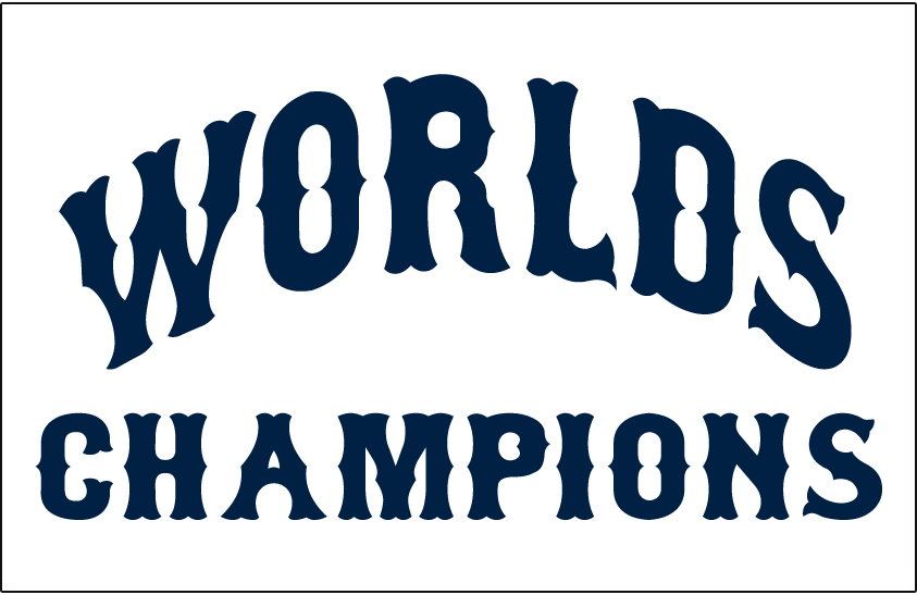 Cleveland Indians Logo Jersey Logo (1921) - WORLDS CHAMPIONS arched in navy blue on white, worn on the Cleveland Indians home jersey in 1921 in celebration of their 1920 World Series victory SportsLogos.Net