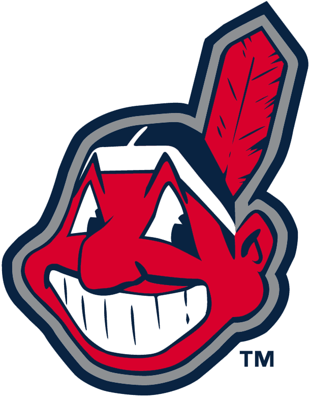Cleveland Indians Logo Alternate Logo (2002-2007) - Chief Wahoo outlined in silver SportsLogos.Net