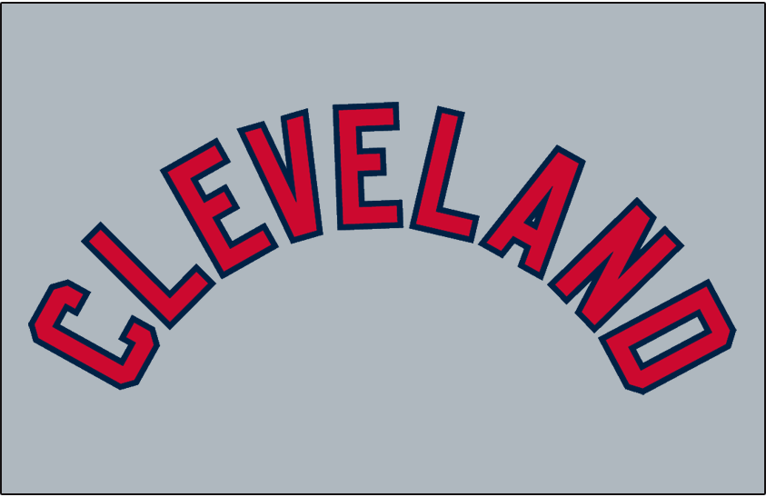 Cleveland Indians Logo Jersey Logo (1944-1949) - CLEVELAND arched in red with blue trim on grey, worn on Cleveland Indians road jersey from 1944-49 and again from 1951-57 SportsLogos.Net