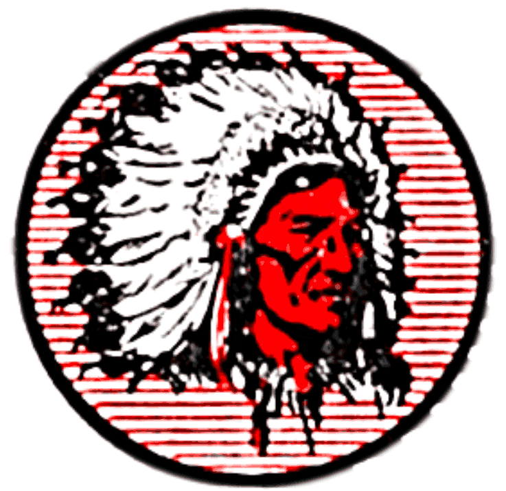 Cleveland Indians Logo Primary Logo (1939-1945) - A Native American head wearing a feathered head dress on a black circle with red horizontal lines SportsLogos.Net