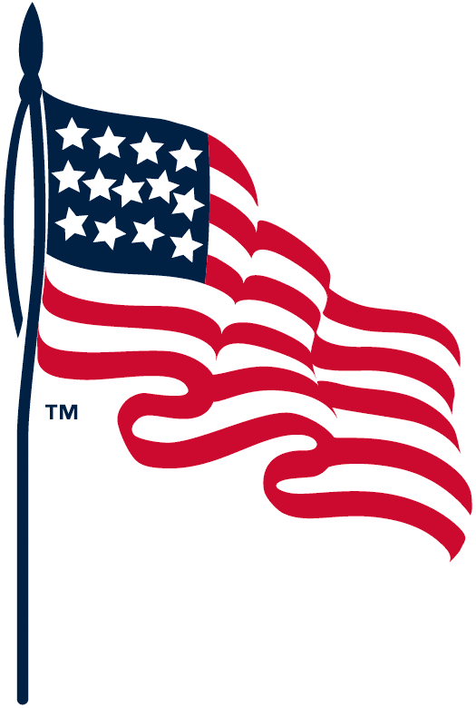 Cleveland Indians Logo Memorial Logo (1918) - An American flag, worn on sleeve of Cleveland Indians jersey in memory of soldiers serving in the Great War SportsLogos.Net