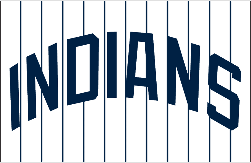 Cleveland Indians Logo Jersey Logo (1971) - INDIANS arched in blue on white with pinstripes, worn on Cleveland Indians home jersey in 1971 only SportsLogos.Net