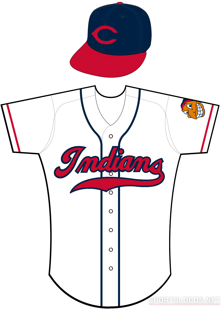 Cleveland Indians Uniform Home Uniform (1946-1949) - Cleveland Indians home uniform worn from 1946 through 1949 (note, in 1946 the Indians wore a commemorative patch on the sleeve in place of the Indians logo) SportsLogos.Net